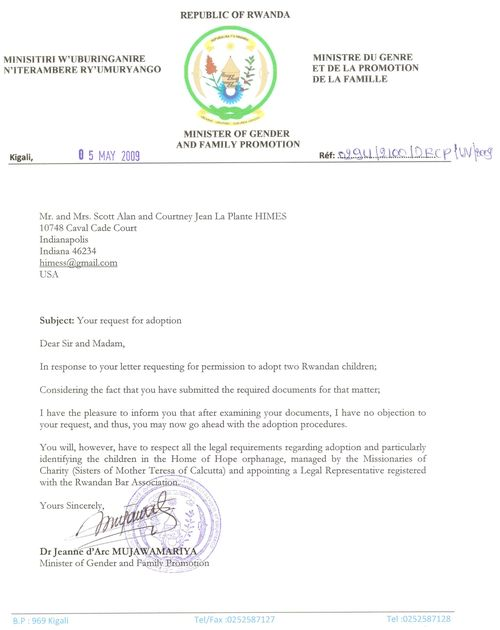 Rwanda Government Aproval Letter - HIMES 5-14-09 reduced in size